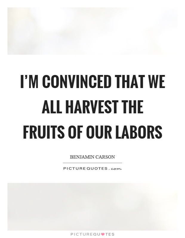 I'm convinced that we all harvest the fruits of our labors Picture Quote #1