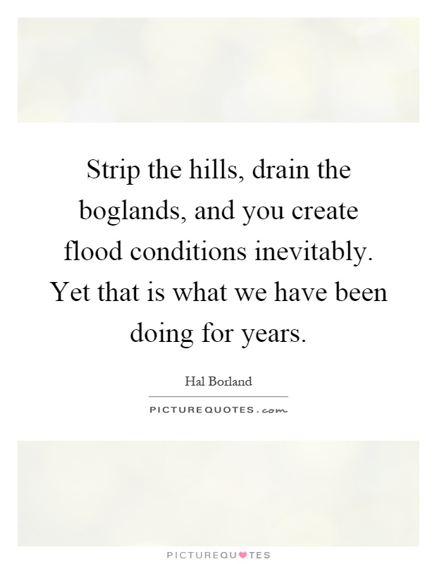 Strip the hills, drain the boglands, and you create flood conditions inevitably. Yet that is what we have been doing for years Picture Quote #1
