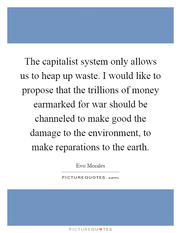 The capitalist system only allows us to heap up waste. I would like to propose that the trillions of money earmarked for war should be channeled to make good the damage to the environment, to make reparations to the earth Picture Quote #1