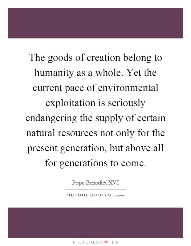 The goods of creation belong to humanity as a whole. Yet the current pace of environmental exploitation is seriously endangering the supply of certain natural resources not only for the present generation, but above all for generations to come Picture Quote #1
