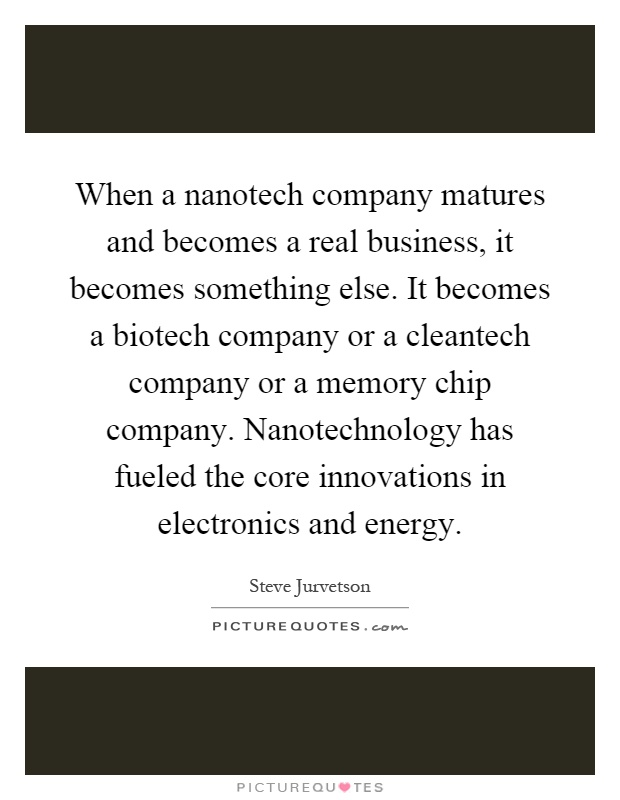 When a nanotech company matures and becomes a real business, it becomes something else. It becomes a biotech company or a cleantech company or a memory chip company. Nanotechnology has fueled the core innovations in electronics and energy Picture Quote #1