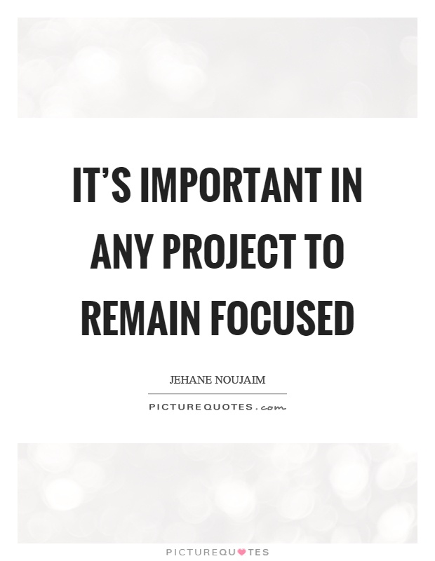 It's important in any project to remain focused Picture Quote #1