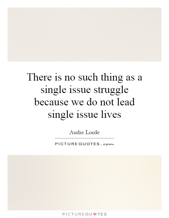 There is no such thing as a single issue struggle because we do not lead single issue lives Picture Quote #1