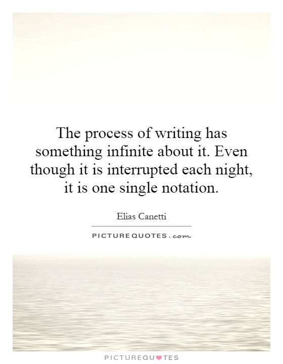 The process of writing has something infinite about it. Even though it is interrupted each night, it is one single notation Picture Quote #1