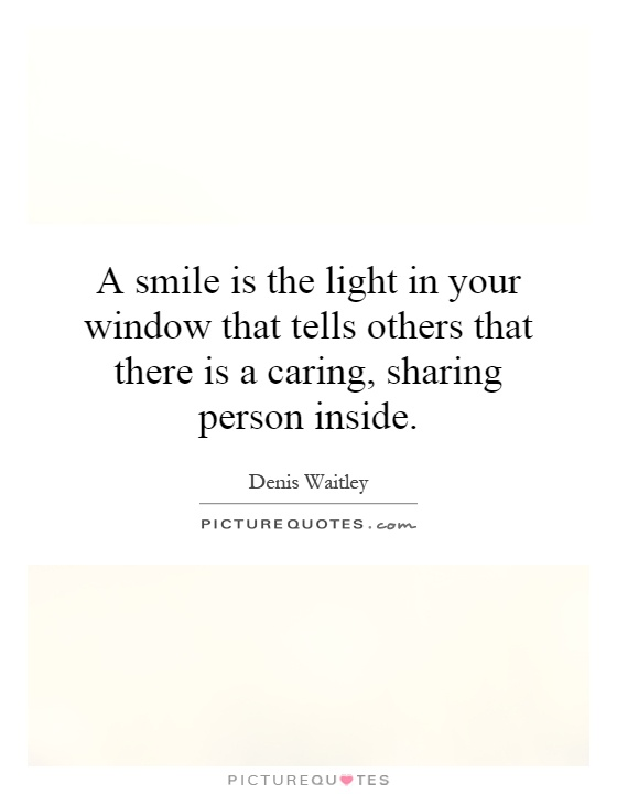 A smile is the light in your window that tells others that there is a caring, sharing person inside Picture Quote #1