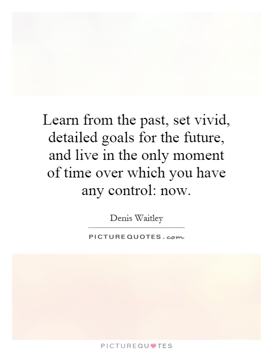 Learn from the past, set vivid, detailed goals for the future, and live in the only moment of time over which you have any control: now Picture Quote #1