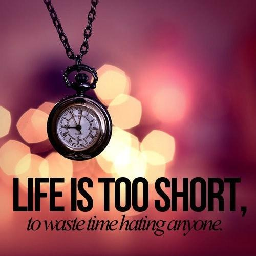 Life is too short to waste time hating anyone Picture Quote #1
