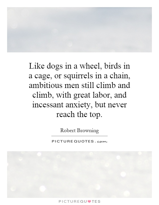Like dogs in a wheel, birds in a cage, or squirrels in a chain, ambitious men still climb and climb, with great labor, and incessant anxiety, but never reach the top Picture Quote #1