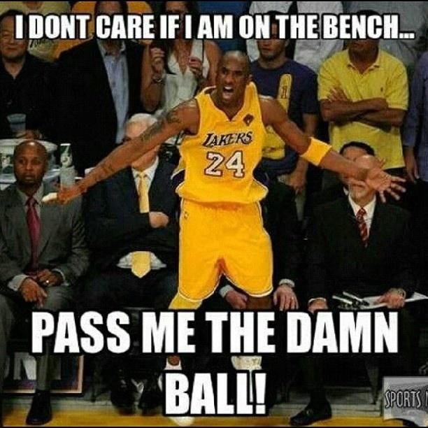 I don't care if I am on the bench, pass me the damn ball Picture Quote #1