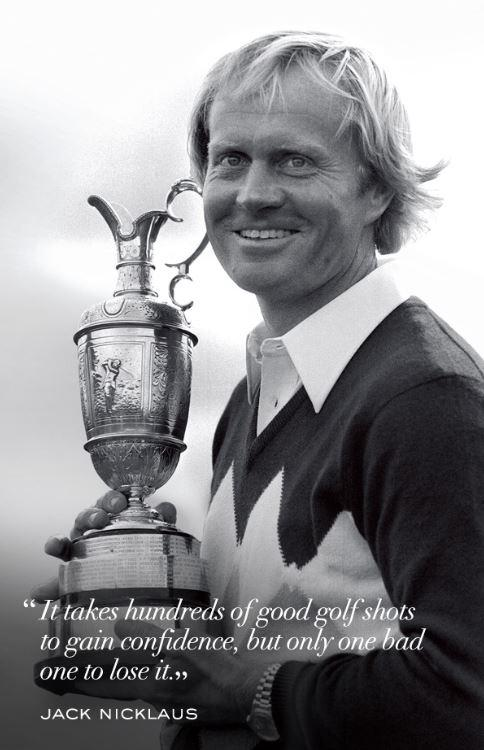 It takes hundreds of good golf shots to gain confidence, but only one bad one to lose it Picture Quote #1