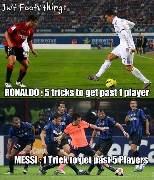 Ronaldo : 5 tricks to get past 1 player. Messi : 1 trick to get past 5 players Picture Quote #1