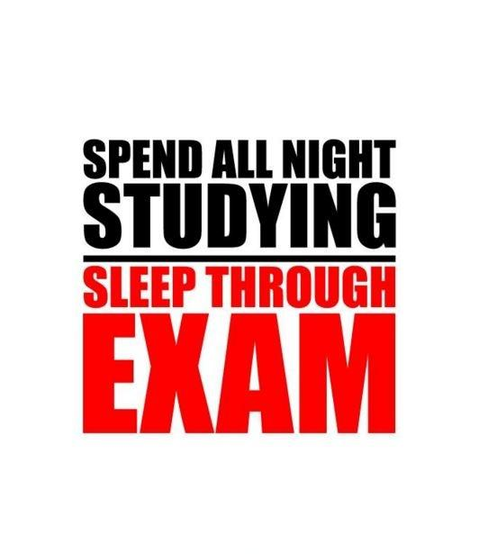 Spend all night studying. Sleep through exam Picture Quote #1
