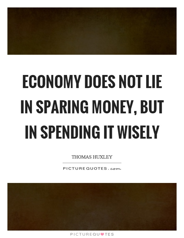 Economy does not lie in sparing money, but in spending it wisely Picture Quote #1