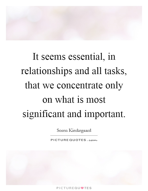 It seems essential, in relationships and all tasks, that we concentrate only on what is most significant and important Picture Quote #1