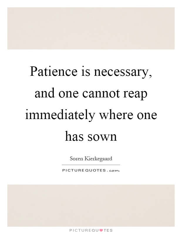 Patience is necessary, and one cannot reap immediately where one has sown Picture Quote #1