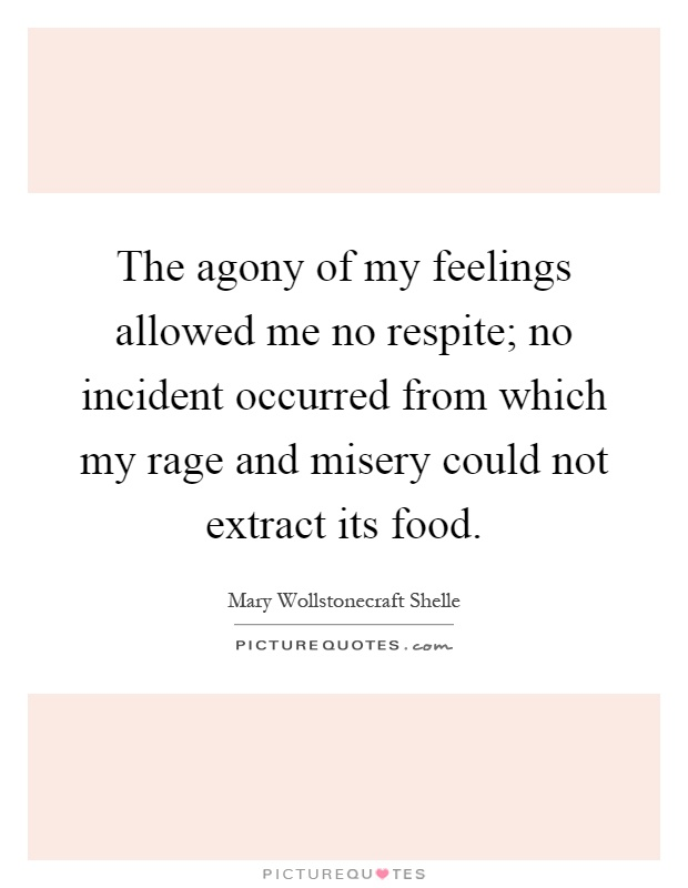 The agony of my feelings allowed me no respite; no incident occurred from which my rage and misery could not extract its food Picture Quote #1