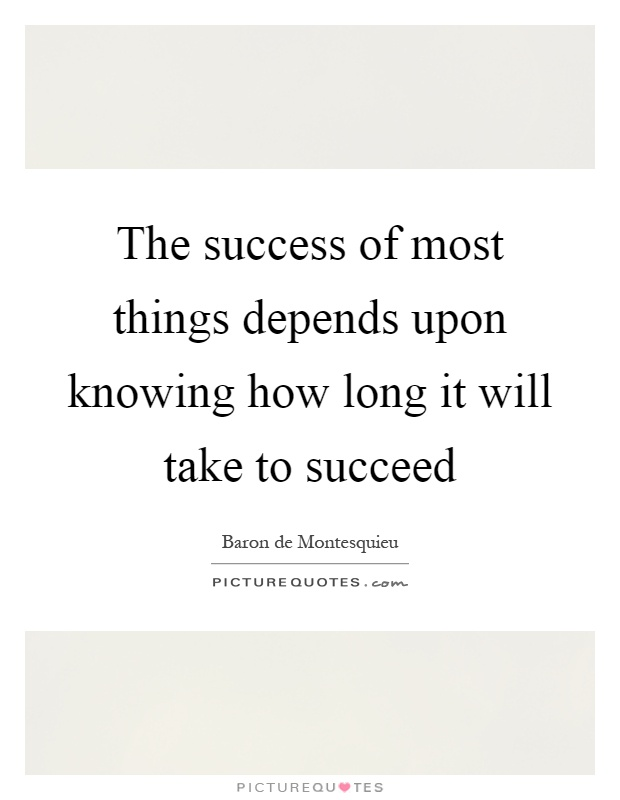 The success of most things depends upon knowing how long it will take to succeed Picture Quote #1