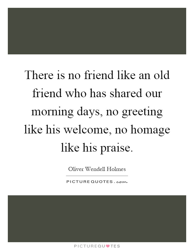 There is no friend like an old friend who has shared our morning days, no greeting like his welcome, no homage like his praise Picture Quote #1
