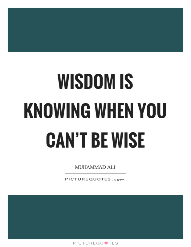 Wisdom is knowing when you can't be wise Picture Quote #1