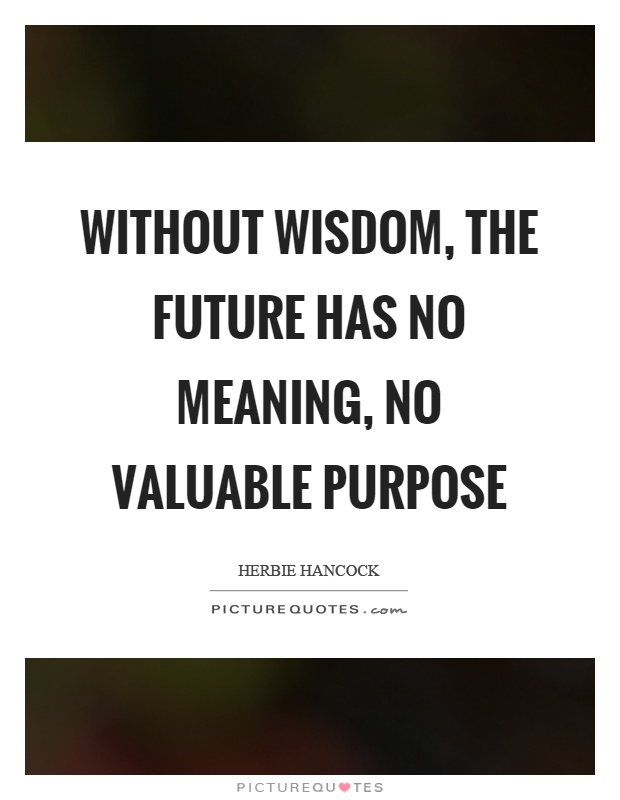 Without wisdom, the future has no meaning, no valuable purpose Picture Quote #1