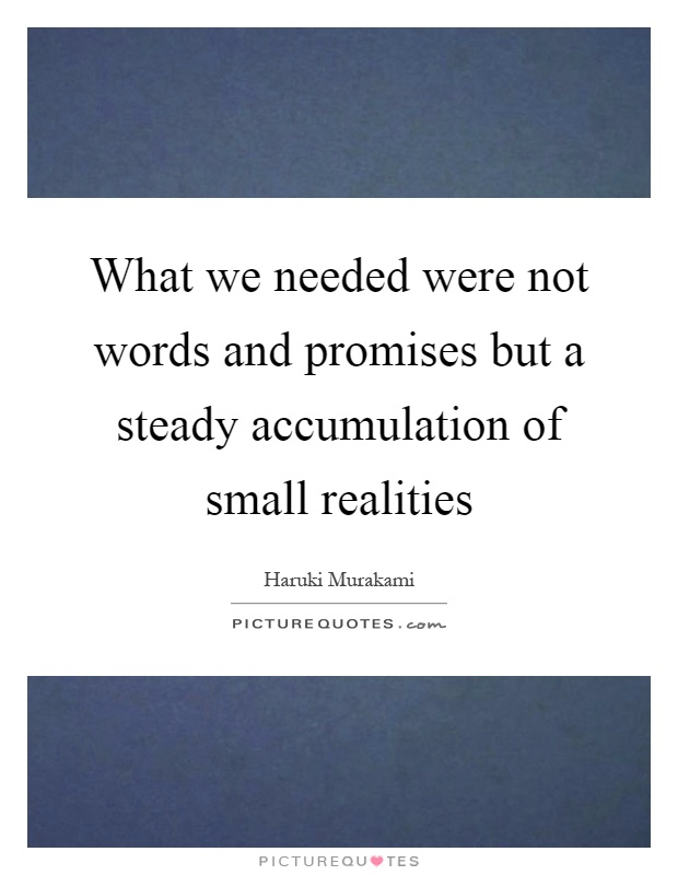 What we needed were not words and promises but a steady accumulation of small realities Picture Quote #1
