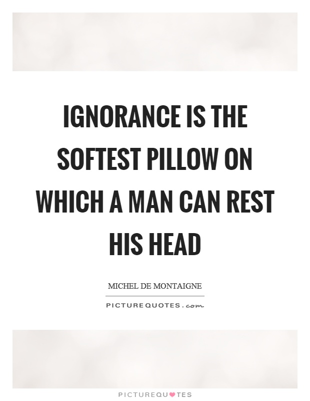 Ignorance is the softest pillow on which a man can rest his head Picture Quote #1