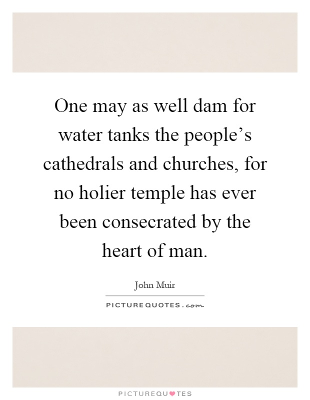 One may as well dam for water tanks the people's cathedrals and churches, for no holier temple has ever been consecrated by the heart of man Picture Quote #1