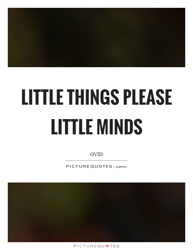 Little things please little minds Picture Quote #1