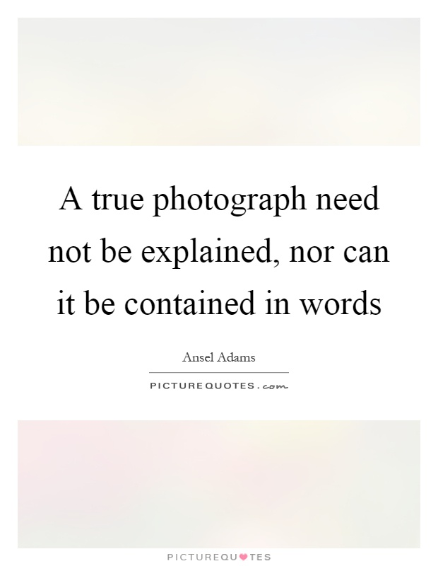 A true photograph need not be explained, nor can it be contained in words Picture Quote #1