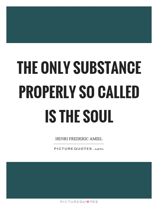 The only substance properly so called is the soul Picture Quote #1