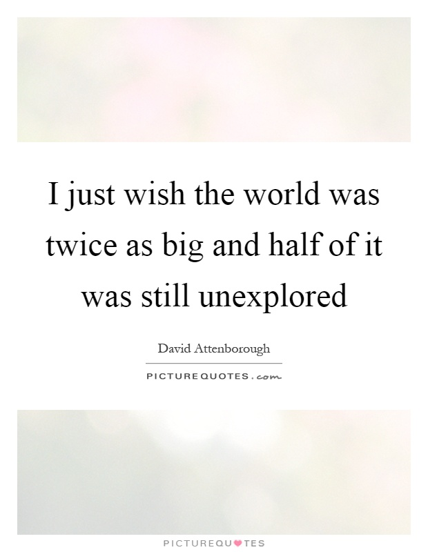 I just wish the world was twice as big and half of it was still unexplored Picture Quote #1