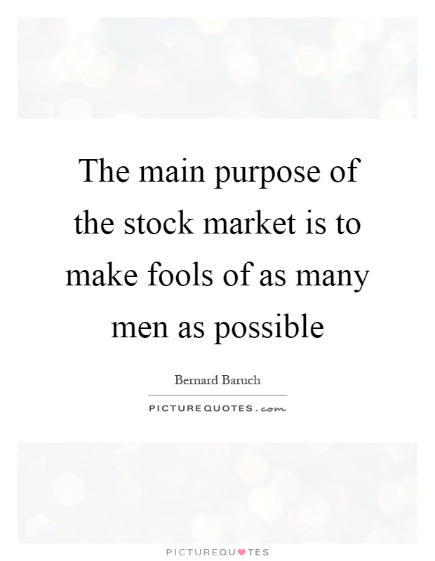 what was the original purpose of the stock market