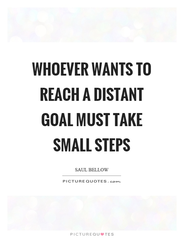 Whoever wants to reach a distant goal must take small steps Picture Quote #1