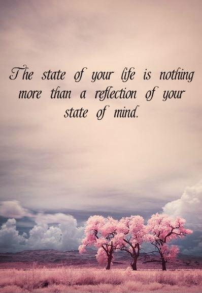The state of your life is nothing more than a reflection of your state of mind Picture Quote #1