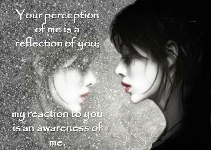 Your perception of me is a reflection of you; my reaction to you is an awareness of me Picture Quote #1