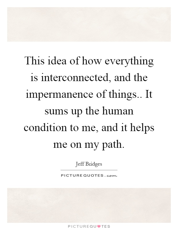 This idea of how everything is interconnected, and the impermanence of things.. It sums up the human condition to me, and it helps me on my path Picture Quote #1