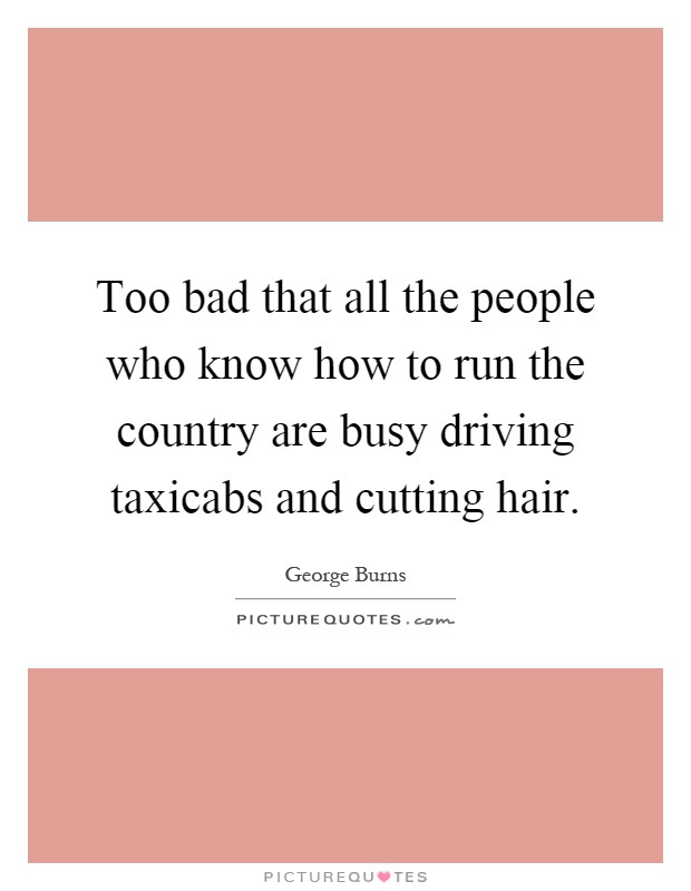 Too bad that all the people who know how to run the country are busy driving taxicabs and cutting hair Picture Quote #1
