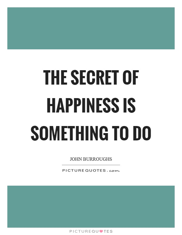 The secret of happiness is something to do Picture Quote #1