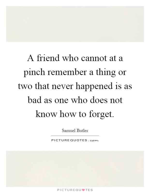 A friend who cannot at a pinch remember a thing or two that never happened is as bad as one who does not know how to forget Picture Quote #1