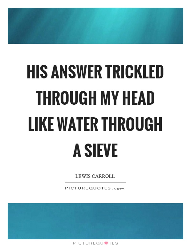 His answer trickled through my head like water through a sieve Picture Quote #1