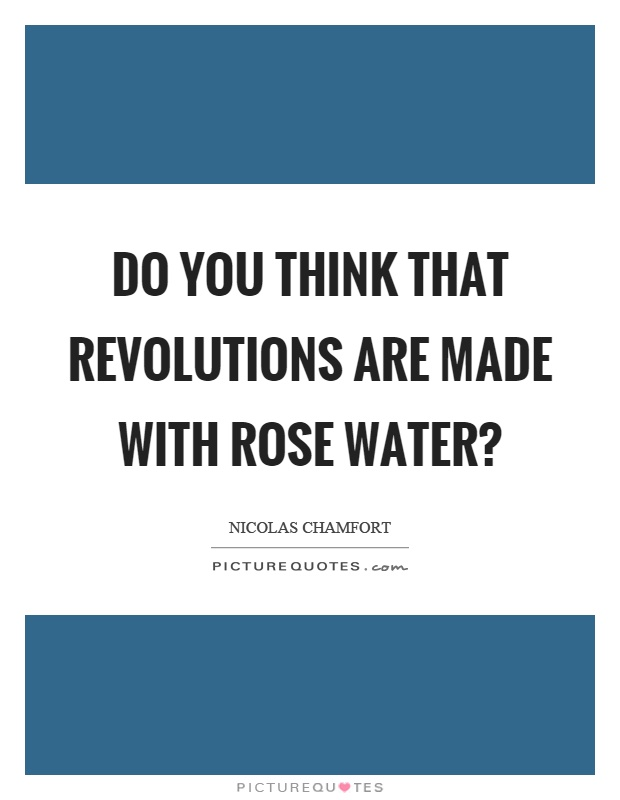 Do you think that revolutions are made with rose water? Picture Quote #1