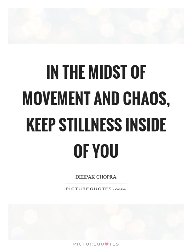 In the midst of movement and chaos, keep stillness inside of you Picture Quote #1