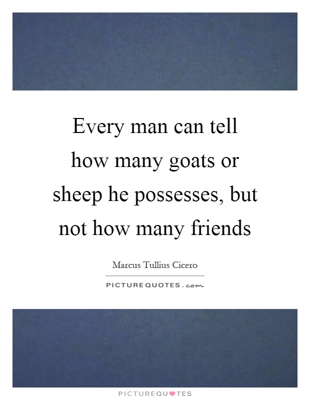 Every man can tell how many goats or sheep he possesses, but not how many friends Picture Quote #1