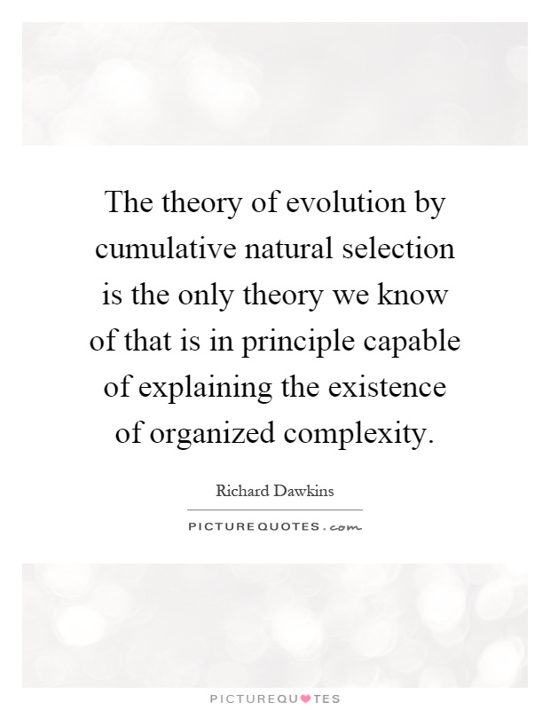 The theory of evolution by cumulative natural selection is the only theory we know of that is in principle capable of explaining the existence of organized complexity Picture Quote #1