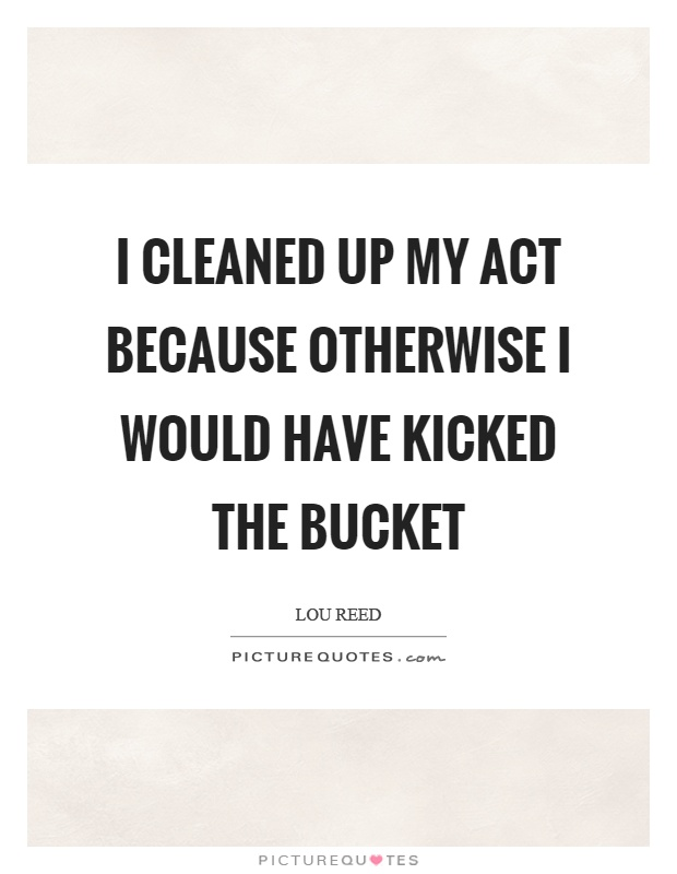 I cleaned up my act because otherwise I would have kicked the bucket Picture Quote #1