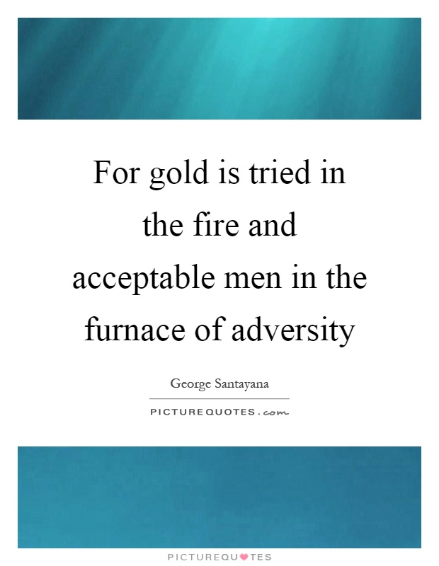 For gold is tried in the fire and acceptable men in the furnace of adversity Picture Quote #1