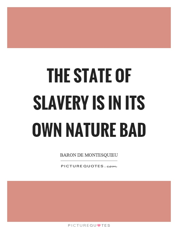 The state of slavery is in its own nature bad Picture Quote #1