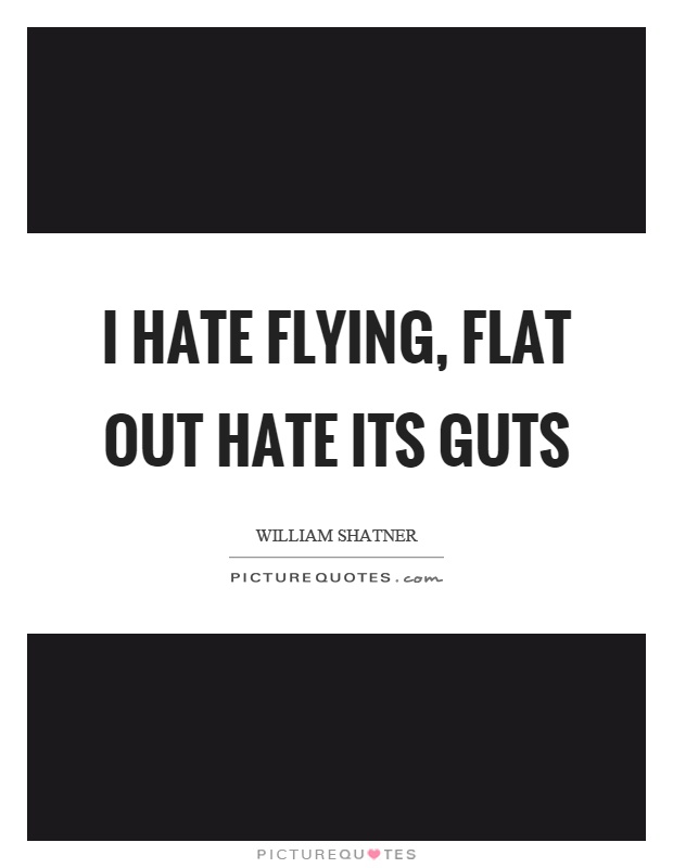 I hate flying, flat out hate its guts Picture Quote #1