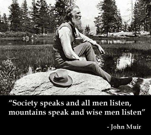 Society speaks and all men listen, mountains speak and wise men listen Picture Quote #1