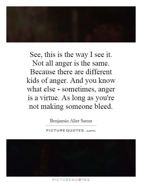 See, this is the way I see it. Not all anger is the same. Because there are different kids of anger. And you know what else - sometimes, anger is a virtue. As long as you're not making someone bleed Picture Quote #1